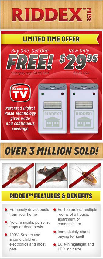 Buy One Riddex Pulse Pest Control System, Get One FREE! Just pay additional shipping and handling.